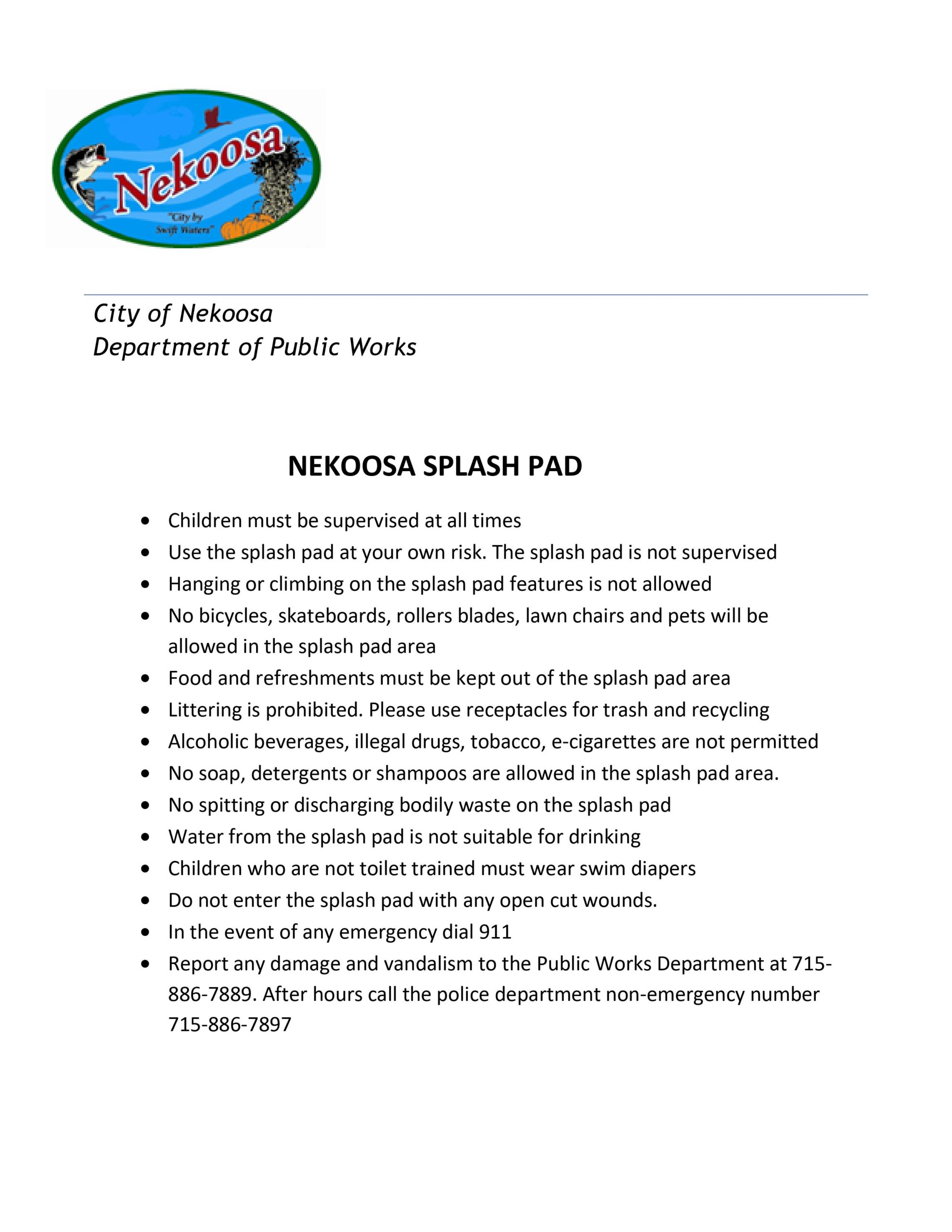 Splash Pad General Rules